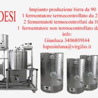 Vendo Impianto produzione birra da 90 litri + fermentatori da 100 e 200 litri