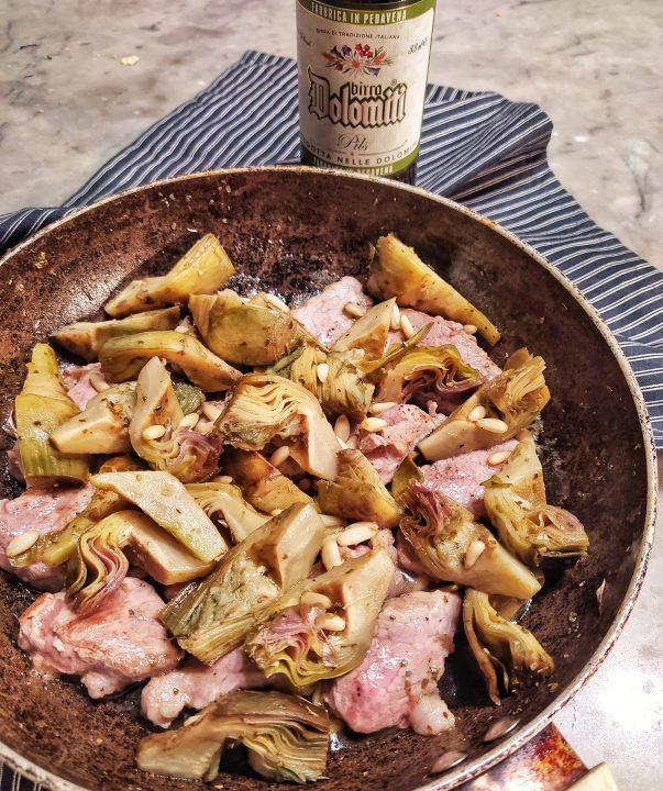 Filetto di maiale e carciofi alla pils