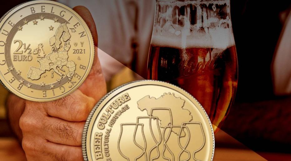 Una coincard coloratissima per la moneta che celebra la birra belga, Patrimonio immateriale dell'umanità riconosciuto dall'Unesco nel 2016